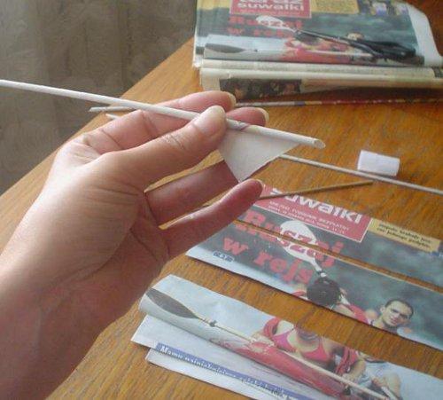szerszy koniec wykorzystujemy do łączenia rurek- wiklina papierowa