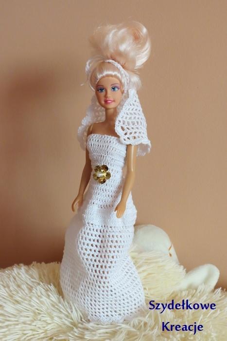 Lalka Barbie W Szydełkowej Sukni ślubnej Szydełko